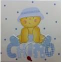Lienzo Bebe niño con sombrero + nombre